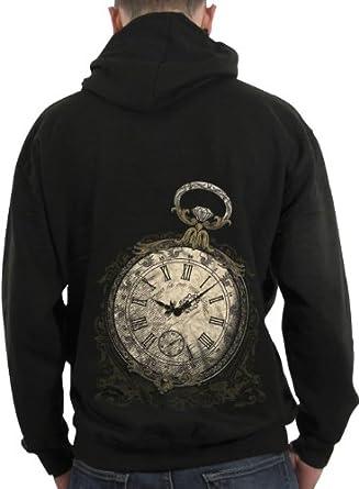 Sweat-shirt zippé à capuche Homme / Steam Punk / 1837 Montre à gousset - Taille : S - Couleur : Noir