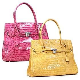 Yellow Simulated Leather/Croc Handbag