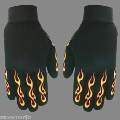 Mechanic Motorcycle Bike Goth Yellow & RED Fire Glove XL