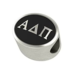 Alpha Delta Pi Black Antique Oval Sorority Bead Fits Most Pandora Style Bracelets Including Pandora Chamilia Biagi Zable Troll and More. Officially Licensed High Quality Exclusive Bead in Stock for Immediate Shipping