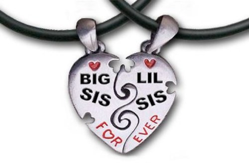 "Big Sis & Lil Sis Heart Pendant Necklaces With Chains -17.5"" Pvc. Pewter (2) Piece Set With Pvc Ropes Are A Great Gift Idea For An Older Big Sister Or A Younger Little Sister (Broken Heart Friendship Jewelry Design - Sister Jewelry / Sister Gifts)"