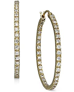 B. Brilliant 18k Gold Over Sterling Silver Earrings, Cubic Zirconia Hoop