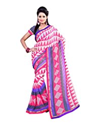 Fabdeal White And Pink Georgette Printed Saree Sari Sarees