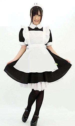 【Hisカンパニー】不思議の国 アリス風 メイド服 AKIBA メイドカチューシャ ホワイト ストッキング オリジナル商品袋 付き