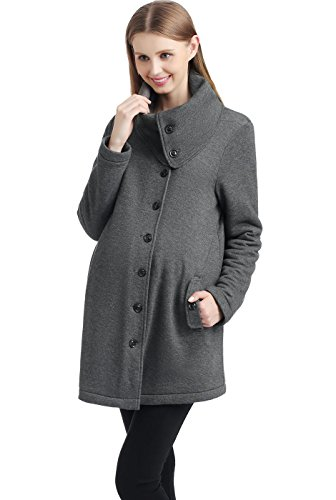 Momo Maternity Sherpa Lined Sweatshirt Coat - L