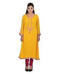Damyantii Women's Plus Size Faux Georgette Yellow Kurta