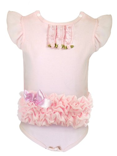 Stephan Baby Really Rosy Ruffle Trimmed All-in-One Diaper Cover with Ribbon Rosettes, 6-12 Months (Discontinued by Manufacturer)