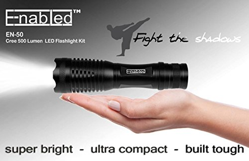 Enabled EN50 Cree 500 Lumen Super Bright LED Tactical Torch Flashlight Bundle with Rechargeable 18650 Battery, AC Charger + Charger Base - 5 Modes - Zoomable, Black