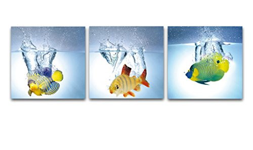 Wieco Art - Happy Fish 3 Panels Modern Giclee Canvas Prints Artwork Contemporary Animal Picture to Photo Paintings on Canvas Wall Art for Home Decorations Wall Decor P3RAB006_f1