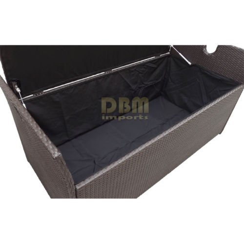 60″ Wicker Patio Deck Pool Storage Ottoman Box Chest Bench Cushion Pillow Trunk Poolside Storing