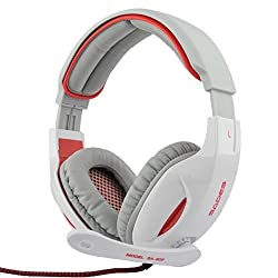 SADES SA-902 Stereo 7.1 Surround Professional USB PC Gaming Headset with Mic & Remoter White + Red
