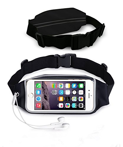 NOKEA Running Belt Waist Pack with Zipper for iPhone 6, 6S, 6 Plus, 6S Plus, Samsung Galaxy S5, S6, S7,Edge, Note 3, 4, 5, LG G3 G4 G5, Water Resistant Expandable Runners Waist Belt Bag (Black) (Galaxy Note 3 Metal Belt Clip compare prices)
