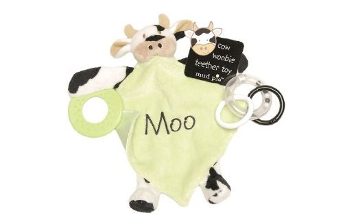 Mud Pie EIEIO Teether Mini-Blanket and Ring Toy Cow - 1
