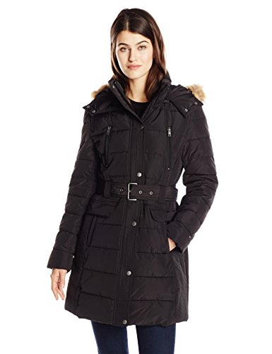 Tommy Hilfiger Women's Down Alternative Coat with Faux Fur Trim Hood and Striped Belt, Black, Medium (Fur Hood Coat compare prices)