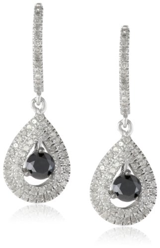 10k White Gold Black and White Diamond Drop Earrings (1/4 Cttw, I-J Color, I2-I3 Clarity)