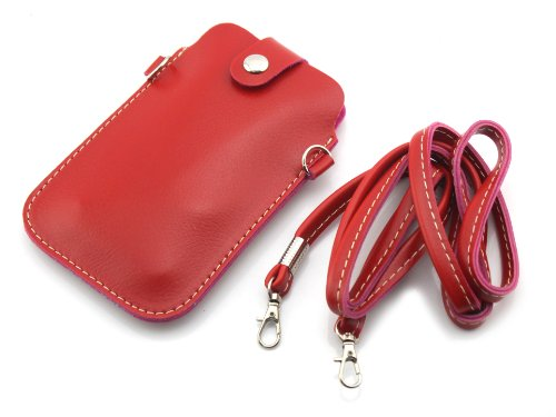Big Dragonfly Universal Multifunctional Pu Leather Mini Mobile Phone Bag Pouch/Purse With Shoulder Strap And Metal Button For Iphone5 5S 5C Iphone4 4S Samsung Galaxy Note2 Note3 S4 S3 Htc And Other Mobile Phone (Dark Red) front-896852