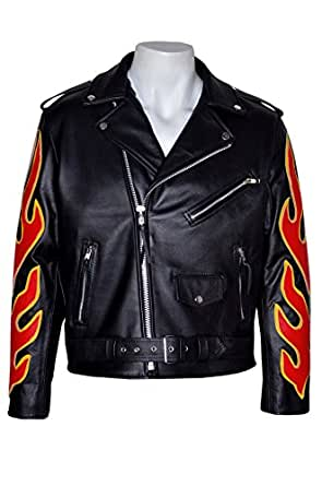 Classic BRANDO Black RED Flame Men's Motorcycle Biker Hide