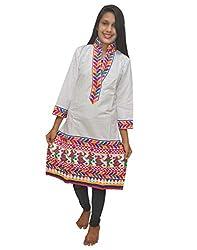 Baa Creation Women's Cotton A-Line Kurti (BAAKUT04_White_XX-Large)