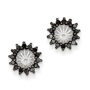 IceCarats Designer Jewelry Sterling Silver Black Diamond Earring Jacket