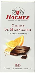 Hachez Cocoa De Maracaibo Chocolate Bar, Orange Crunch, 3.5 Ounce