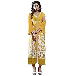 Yellow Color Embroidered Pure Georgette Straight cut Suit
