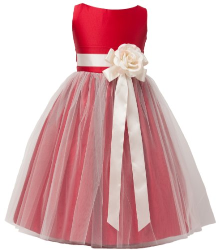 Vintage Satin Tulle Special Occasion Flower Girl Dress Red 12