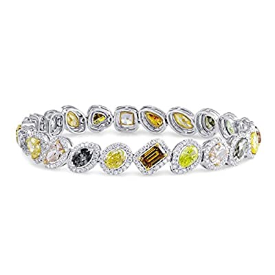 13.04Cts Yellow Chameleon Orange Pink Champagne Gray Green Diamond Bracelet Set