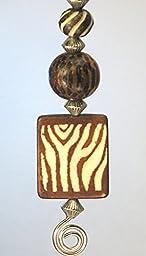 Zebra Square & Leopard Cheetah Print Ceiling Fan Pull Chain in Brown and Cream
