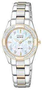CITIZEN ECO-DRIVE Women's EW1824-57D Regent Two-Tone Diamond Watch
