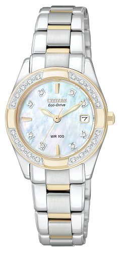 CITIZEN ECO-DRIVE Womens EW1824-57D Regent Two-Tone Diamond Watch