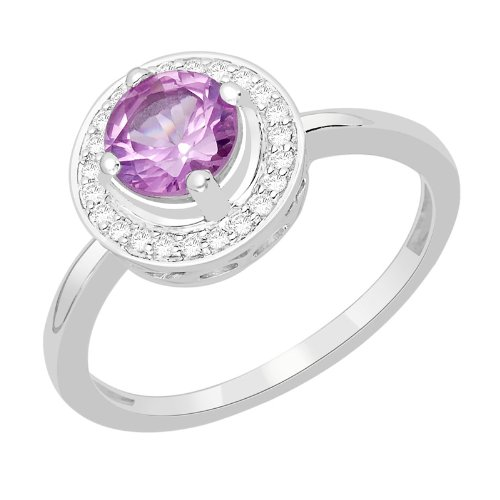 1.12 Carat Purple Color White 14K Gold Certified Sapphire and Diamond Engagement Ring
