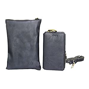 Jo Jo A7 Zara Sr Cut Leather Wallet sling Bag clutch Pouch Mobile Phone Case Cover For Philips W8355 Dark Blue