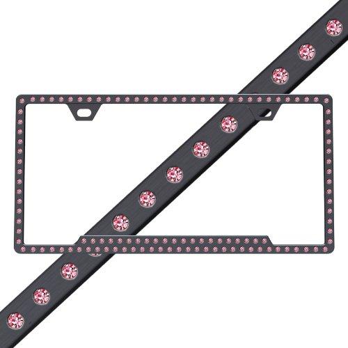 black chrome frame w rose crystals swarovski car truck suv slimline license plate frame