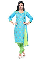 Kanchnar Women's Blue and Green Chanderi Cotton Embroidered Casual Wear Dress Material,Navratri Festival Clothing Diwali Gift,Great Indian Sale