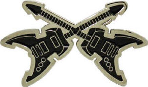 Electric Double Crossed Guitars Belt Buckle Rock N Roll