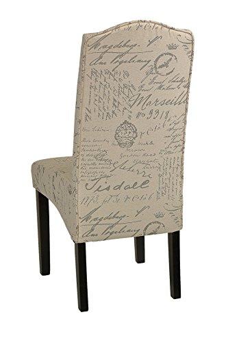 Cortesi Home Miller Dining Chair in Beige Script Fabric (Set of 2), Beige 3