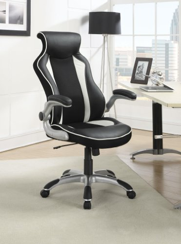 Coaster Home Furnishings Contemporary Office Chair, Black And White/Black And White front-354348