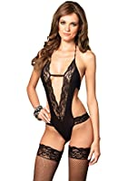 Leg Avenue Women's Deep-V Lace Teddy with Backless Panty
