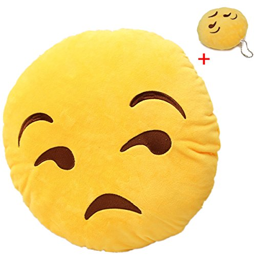 Best Buy! KINGSO Smiley Emoticon Plush Pillow Round Cushion Toy(Buy 1 Get 1 Free Smiley Emoticon Key...