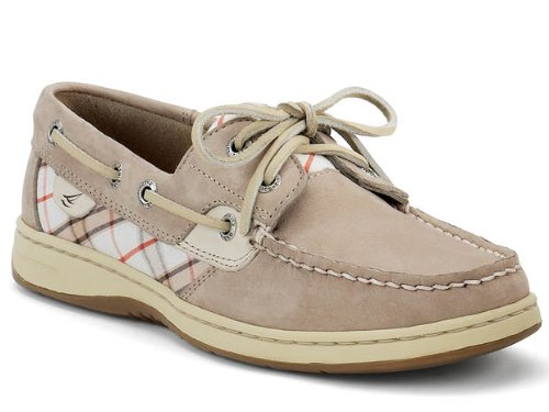New Sperry Bluefish 2 Eye Greige/Plaid Ladies 7