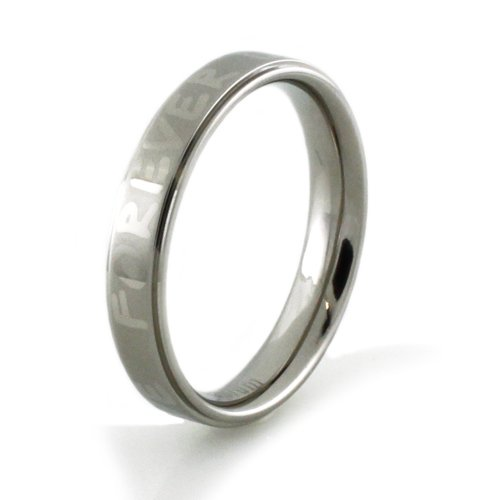 Forever Love Titanium Satin/High Polish Promise Ring (Size 9) Available Size: 6, 7, 8, 9