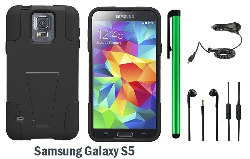 Samsung Galaxy S5 Premium Pretty T-Stand Design Protector Hard Cover Case (2014 March Released; Carrier: Verizon, At&T, T-Mobile, Sprint) + 3.5Mm Stereo Earphones + Car Charger + 1 Of New Assorted Color Metal Stylus Touch Screen Pen (Black / Black)