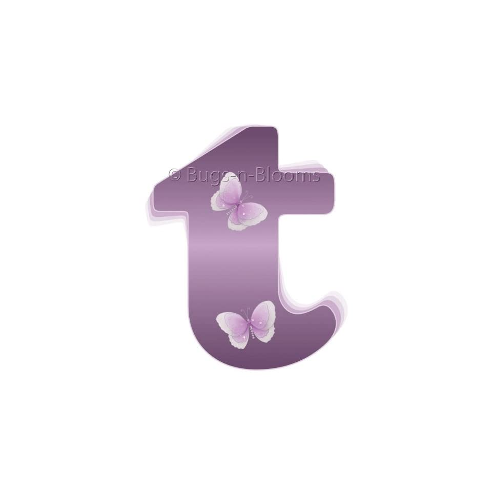 Wall Letters t Purple Butterfly Decorative Wall Letter for