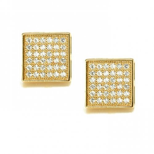 Bling Jewelry Mens Gold Vermeil Micro Pave CZ Square Stud Earrings 5mm