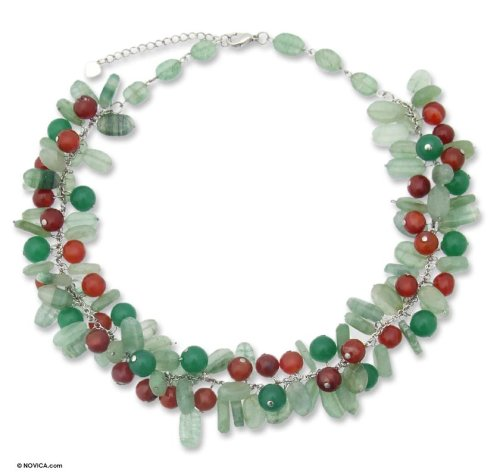 Beaded necklace, 'Green Princess' 1