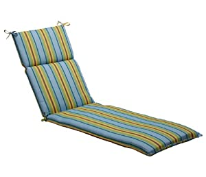"72.5"" Eco-Friendly Blue, Green and Orange Stripe Outdoor Chaise Lounge Cushion"