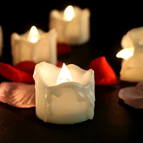 Micandle 24pcs Warm White Flickering Flameless Christmas Candles, Realistic Flashing Led Tealight Candles, ,Tear Dripped Votive Candles for Wedding Christmas Outdoor Party Room Decoration