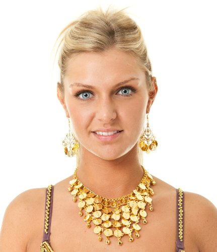 Belly Dance Jewelry Costume Set Coin Necklace & 2 Earrings Dancing Gold Tone