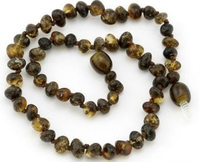Certified Baltic Amber Teething Necklace for Baby (green) - Anti-inflammatory - 1