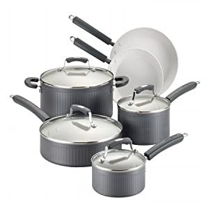 Paula Deen 83540 Hard Anodized Nonstick 10-Piece Cookware Set, Gray